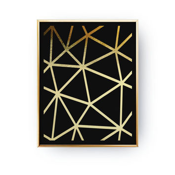 Geometric Gird Print, Abstract Print Poster, Real Gold Foil, Gold Print, Geometric Print Poster ,Minimalist Poster, Black Background Poster