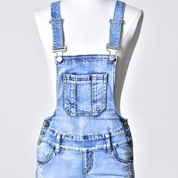 Light Wash Distressed Denim Overall Shorts