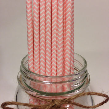 25 Light Pink Chevron paper straws //baby bridal shower decorations //candy dessert buffet table // wedding // First birthday/new year party
