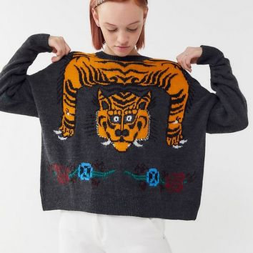 UO Tiger Intarsia Knit Pullover Sweater | Urban Outfitters