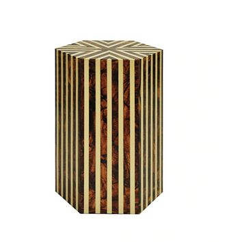 Worlds Away Zane Striped Hexagon Side Table, Brown 'Horn' and Off White