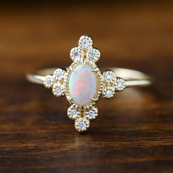 Genuine opal diamond ring, 14k yellow gold oval opal ring, Gorgeous opal ring, Beautiful opal, Large opal solitaire ring, ado-r104-opa XP