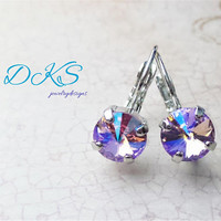 Swarovski 8mm Rivloi Earrings, Violet Shimmer, Bridal, Drops, Dangles, Rhodium, Jewelry Gifts, DKSJewelrydesigns, FREE SHIPPING