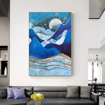 Moutain and Moon arcylic painting on canvas Original abstract nordic extra Large navy blue Wall Art Pictures Room Decor caudros abstractos