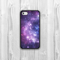 Galaxy iPhone Case - iPhone 4, iPhone 4s, iPhone 5 cover - Purple Space Stars Protective Cell Phone Case