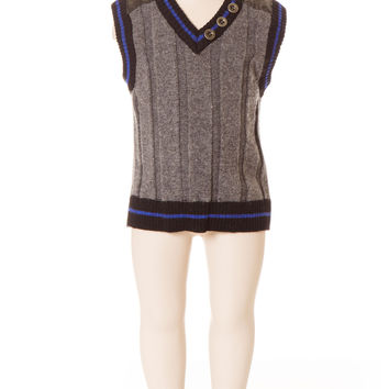 Deux Par Deux Petit Gentleman Boy's Knit Vest Grey V Neck Vest Fall 2014