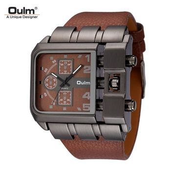 Men's Wrist Watches Luxury Design Oulm Quartz Watch Men Square Dial Leather Strap Male Military Antique Clock erkek saat