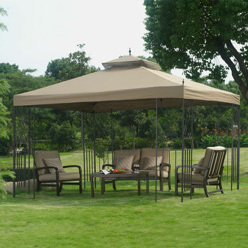10-Ft x 12-Ft Outdoor Gazebo with Brown Vent-Top Canopy