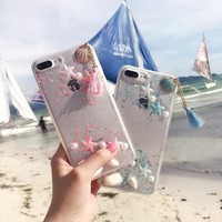 For iPhone 6 6s Case Girl Tassel Shell Capas for iPhone 7 7plus Dream Sea Star Clear Back Cover for iPhone 6plus 6splus