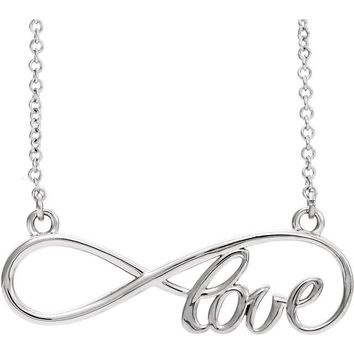"14K Rose Yellow White Gold Infinity-Inspired ""Love"" Script Necklace"