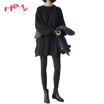 2018 Korean Ulzzang BF Style Women Thin Oversized Hoodies Japanese Harajuku COOL Fashion Black Pullovers Long Sleeve Sweatshirts