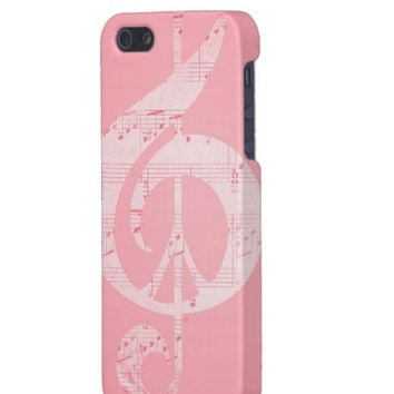 Pink Peace Case, Pale Pink, iPhone, Music & Peace, Protective, Sleek, Pink, Soft Pink, Powder Pink, Glee, Bling, For Her, Rock  Pastel