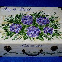 Decorative Wood Wedding Keepsake Box Distressed Wedding Suitcase Trunk Hydrangea Wedding Card Box Chest Personalized Hand Painted