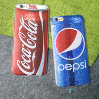 Pepsi Coca Cola Case Ultrathin Cover for iPhone 5 6 6s Plus