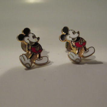 Vintage Gold Mickey Mouse Stud Earrings- Gold Outline- Disney