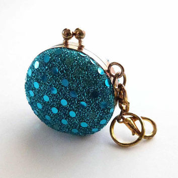 Vintage Blue Sparkly Glitter Sequin Old Fashion Coin Purse Key Fob Pill Stash Purse