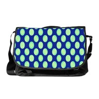 Green Yellow Circles on Dark Blue Messenger Bag