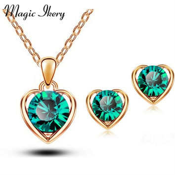 New Arrival 18K Gold & Silver Plated Crystal Heart Shape Fashion Costume Jewelry Sets for Women Necklace Earrings Sets 1331