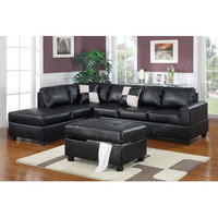 Poundex SECTIONAL SOFA SECTIONAL COUCH LIVING ROOM SECTIONAL SOFA SET POUNDEX F7351 3-Pcs SOFA REVERISBLE L/R CHAISE OTTOMAN