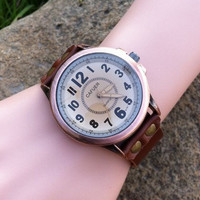 Retro style watch, Brown Leather Bracelet  Watch, Handmade Women's Watch, Men Watch YB045-w