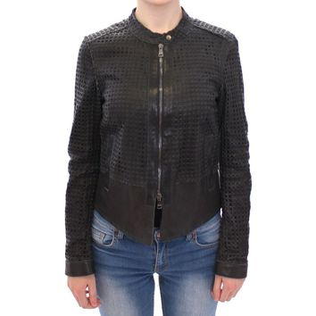 Dolce & Gabbana Black Perforated Leather Biker Jacket Coat