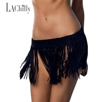 New 2017 Summer Sexy Women Skirts Bohemian Beachwear Tassel Swimwear Women Moda Praia  Fringe Beach Skirt Cover up LC42003