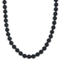 """Sterling Silver 8mm Black Onyx Bead Necklace, 36"""""""