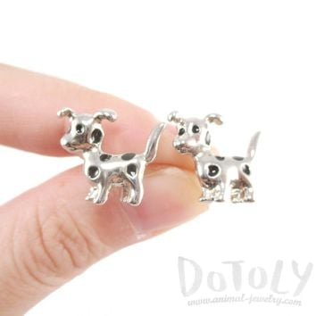 Dalmatian Puppy Dog Animal Shaped Stud Earrings in Silver