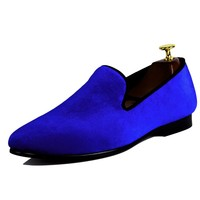 Harpelunde Mens Shoes Dress Blue Velvet Loafers Male Wedding Shoes Footwear