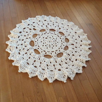 READY TO SHIP! Hand Knit Original White Crochet Carpet / Crochet Rug Rag / Round Rug/Kids Room Rug