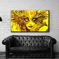 "Large 26x46"" Box Framed Canvas Print Artwork Stretched Gallery Wrapped Wall Art Painting Hanging Original Decorative Modern Home & Living Decor Face Girl Carnival Mask Gold Curls Yellow Like Painting (Canm29)"