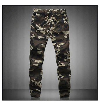 Mens Camouflage Pants Loose Cargo Trousers/Pants