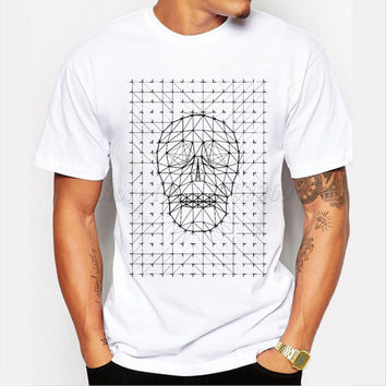 New brand drawing skull printed men's customized t-shirt short sleeve halloween tops casual fashion hipster punk style funny tee