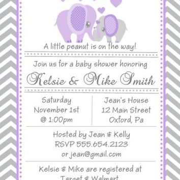 10 Purple Elephant Baby Shower Invitations