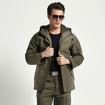 Autumn Men Coat Hats Fleece Jacket [6541145923]