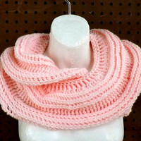 Crochet Scarf, Crochet Infinity Scarf, Soft Pink Scarf,  SNAKE Mobius Crochet Cowl Scarf