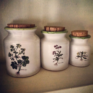 Herb Jars Set of Ceramic cork jars light tight organic kitchen storage containers