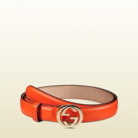 Gucci - leather belt with interlocking G buckle 370717AP00G7523