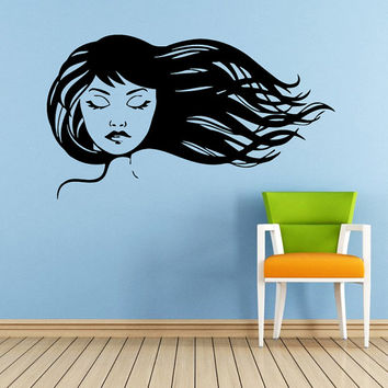 Makeup Wall Decal Vinyl Sticker Decals Home Decor Mural Make Up Girl Eyes Woman Fashion Cosmetic Hairdressing Hair Beauty Salon Decor SV6034