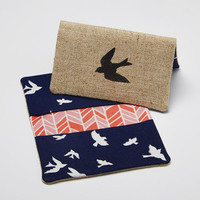 Bird Business Card Holder, Credit Card Case, Bifold Wallet in Navy, Coral, and White