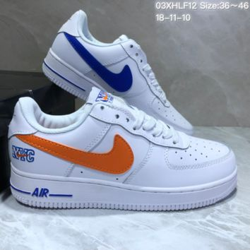KUYOU N817 NYC Air Force 1 AF1 Low Skate Shoes Black Orange White