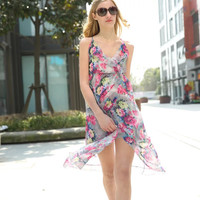 Women's Fashion Summer Spaghetti Strap Print Maxi Dress One Piece Dress [4920243076]