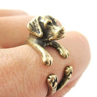 Realistic Labrador Retriever Shaped Animal Wrap Ring in Brass | Sizes 4 to 8.5
