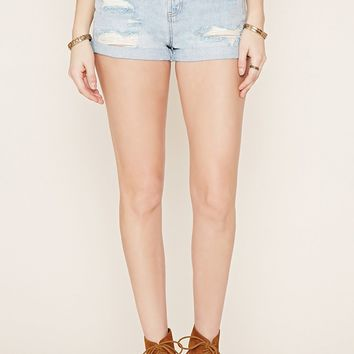 Cuffed Distressed Denim Shorts