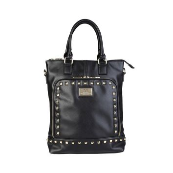 "Women's Black Vegan Leather ""V 1969"" Shopping Tote Handbag with Grommet Details"