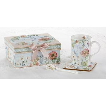 Gift Boxed Porcelain Dragonfly Mug Set Includes Spoon and Coaster
