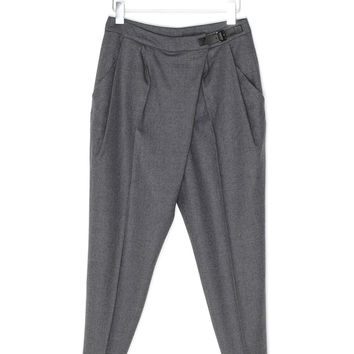 Gray Wool Belted Pants