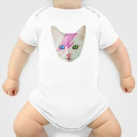 Custom One Piece Baby Body Suit - Funky Catsterz David Meowie David Bowie Cat
