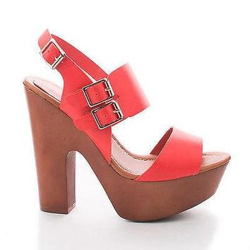 Rudy11 Grapefruit Pu By Breckelle's, Strappy Multi Buckle Faux Wooden Platform Chunky Heel Sandals