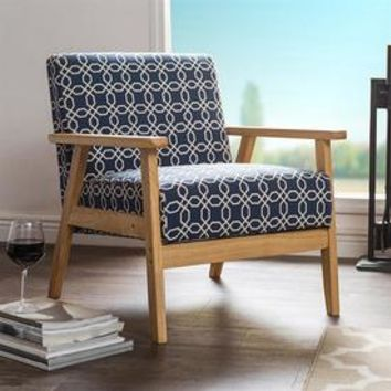 Shop Baxton Studio Francis Midcentury Navy Blue Polyester Accent Chair at Lowes.com